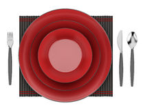 Black and red table setting isolated on white Stock Images