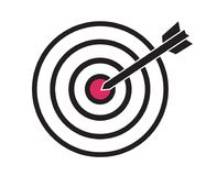 Black and red target with arrow dart aim in the center concept o. F focus achievement objective or strategy simple vector icon Royalty Free Stock Image