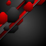 Black and red tech background with geometric. Shapes. Vector design Stock Photo
