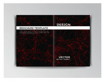 Black and red template of brochure with abstract elements Royalty Free Stock Images