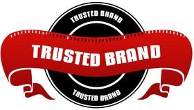 Black and red TRUSTED BRAND badge and ribbon. Illustration concept Stock Images