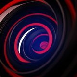 Black and red twisted spiral shape abstract 3D render with DOF. Black and red twisted spiral shape. Computer designed abstract 3D render with DOF Royalty Free Stock Images