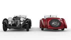 Black and red vintage cars Stock Images