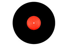 Black and red vinyl record on a white background Royalty Free Stock Image