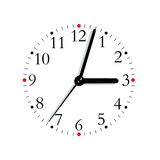 Black red white analogue clock face 3:03, isolated. Black, and white analogue clock face dial reading 3:03 PM, red quarter marks, isolated macro closeup stock image