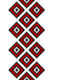 Black red and white aztec ornaments geometric ethnic seamless border, vector stock photography