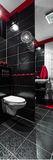 Black, red and white bathroom. With simple toilet, vertical panorama Stock Photos