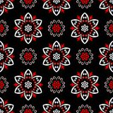 Black red and white floral seamless pattern. Wallpaper background. Black red and white floral seamless pattern. Wallpaper, textile and fabrics background stock illustration