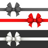 Black, red and white gift bows. Royalty Free Stock Photography