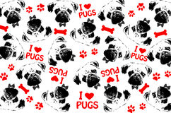 Black,red and white graphic style pug dogs background Royalty Free Stock Photography