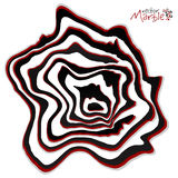 Black, red and white marble style vector abstract shape Stock Image