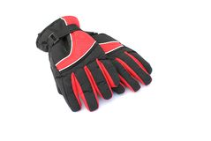 Black and red winter gloves. On white background, soft shadows Royalty Free Stock Image