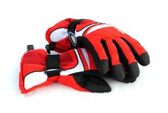 Black and red winter gloves Stock Images