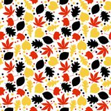 Black, Red, and Yellow Leaves Seamless Pattern vector illustration