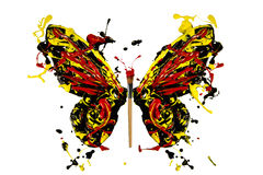 Black red yellow paint splash made butterfly Stock Photo