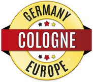 Black red yellow round glossy cologne germany badge. Round glossy black red yellow badge Stock Photos