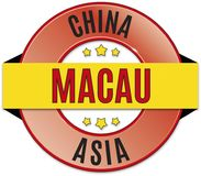 Black red yellow round glossy macau china badge. Round glossy black red yellow badge Stock Images