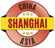 Black red yellow round glossy shanghai china badge. Round glossy black red yellow badge Royalty Free Stock Images