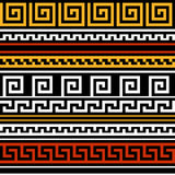 Black red yellow and white geometric greek meander traditional seamless pattern, vector Stock Photos