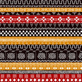 Black red yellow and white traditional african mudcloth fabric seamless pattern, vector Royalty Free Stock Photo