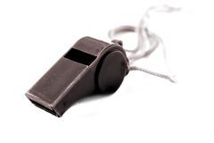 Black Referee Whistle Stock Photography