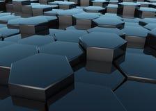 Black reflective hexagons 3D render vector illustration