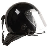 Black reflective radio helmet Royalty Free Stock Photography