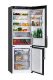 Black refrigerator. Two door black refrigerator isolated on white Stock Photo