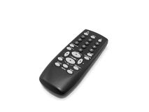 Black remote control. A black remote control isolated on white background royalty free stock photo