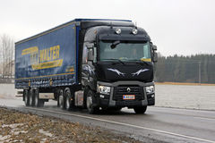 Black Renault Trucks T Delivers Cargo Trailer Stock Photography