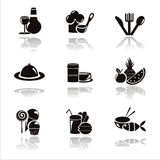 Black restaurant icons Royalty Free Stock Image