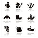 Black Restaurant Icons Royalty Free Stock Image