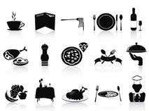 Black restaurant icons set Royalty Free Stock Images