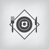 Black restaurant menu icon. Plate with fried eggs, fork, knife isolated Stock Image