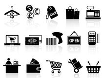 Black retail and shopping icons set. Isolated black retail and shopping icons set from white background Royalty Free Illustration