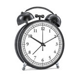 Black retro alarm clock on white background. 3D Stock Photo