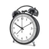 Black retro alarm clock on white background. 3D Royalty Free Stock Photography