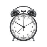 Black retro alarm clock on white background. 3D. Rendering Royalty Free Stock Images