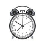 Black retro alarm clock on white background. 3D Royalty Free Stock Images