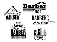 Black retro barber shop icons. Emblems or logos with moustache, combs and scissors for service industry design Royalty Free Stock Photo