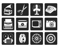 Black Retro business and office object icons. Vector icon set vector illustration