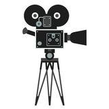 Black retro camera. Flat vector cartoon illustration. Objects  on a white background Royalty Free Stock Photos