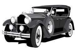 Black retro car. Vector black retro car on white background Royalty Free Stock Photo
