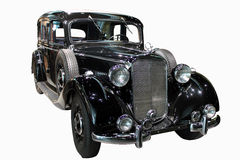 Black retro car. Front view of luxurious black retro car Royalty Free Stock Photography