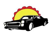 Black retro car logo on a white background. Retro car logo on a white background Stock Photo