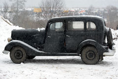Black retro car, side view Royalty Free Stock Photography