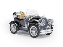 1910 black retro car. On a white background in steampunk style Royalty Free Stock Photography