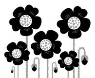 Black retro Flowers silhouette background Royalty Free Stock Photo