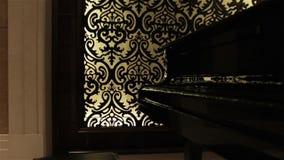 Black retro grand piano. Luxury hall interior musical keyboards instrument stock footage