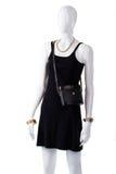 Black retro handbag on mannequin. Stock Photography